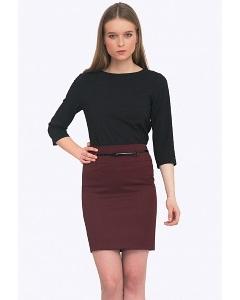 Офисная юбка бордового цвета Emka S202-50/refi