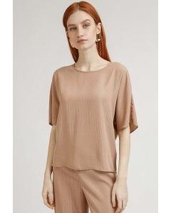 Блузка бежевого цвета в полоску из люрекса Emka B2415/andrea