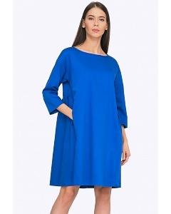 Синее платье-трапеция Emka PL765/rendi