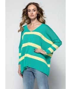 Двухцветный свитер с V-образным вырезом Fimfi I239