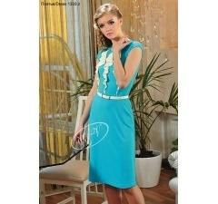 Голубое платье с белым декором