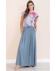Длинная летняя трикотажная юбка джинсового цвета Zaps Latia