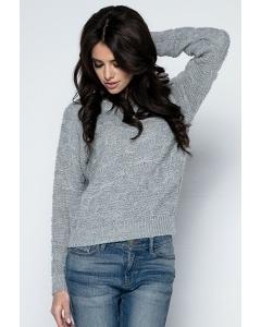 Женский свитер серого цвета Fobya F502