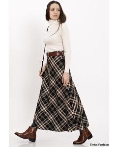 Длинная юбка в клетку Emka Fashion 314-april