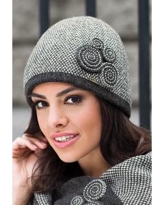 Графитовая шапка с твидовым узором Kamea Silvia