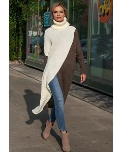 Очень длинный двухцветный свитер Fobya F553