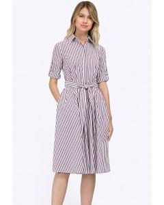 Полосатое летнее платье из хлопка Emka PL620/libella