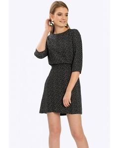 Черное платье в мелкий геометрический узор Emka PL920/dawn