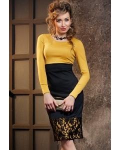 Черно-горчичное платье Donna Saggia DSP-126-5t