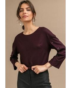 Бордовая блузка с пуговицами по рукаву Emka B2454/cario
