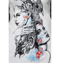 Белая майка-сарафан Лица