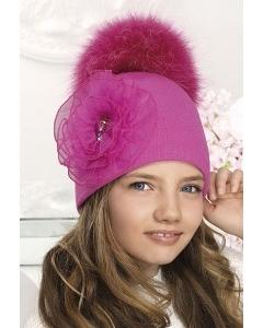 Малиновая шапка для девочек с помпоном Willi Sara