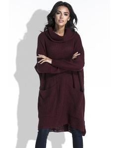 Длинный тёплый свитер бордового цвета Fobya F445