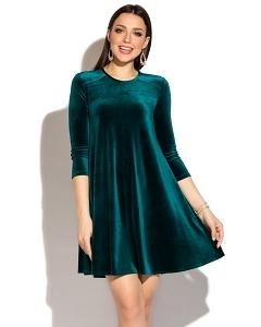 Короткое бархатное платье тёмно лазурного цвета Donna Saggia DSP-271-35t