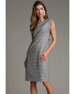 Платье-футляр серого цвета в клетку Emka PL1016/sever