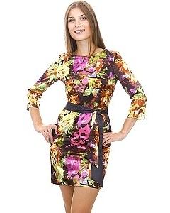 Цветное атласное платье
