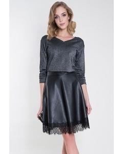 Чёрная кожаная юбка с кружевом Zaps Azzura