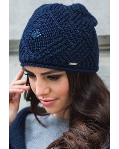 Тёмно-синяя шапка ажурной вязки Kamea Paula