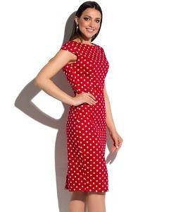 Красное платье-футляр в белый горох Donna Saggia DSP-180-53