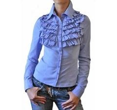 Голубая офисная блузка с жабо | Б738-916