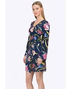 Короткое синее платье с длинными рукавами Emka PL735/dulcet