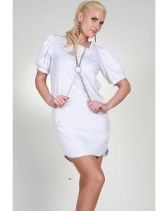 Белое платье с рукавом-фонарик | 0184