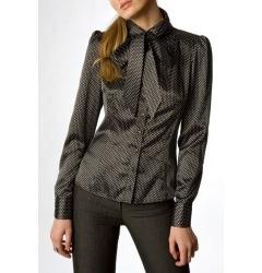 Чёрная атласная блузка Golub