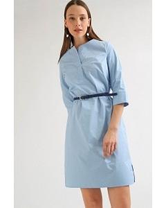 Платье голубого цвета из хлопка Emka PL985/morris