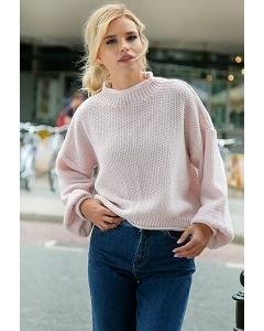 Короткий розовый свитер Fobya F550