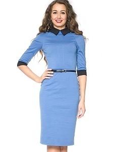 Голубое платье с черным воротником   DSP-76-43t