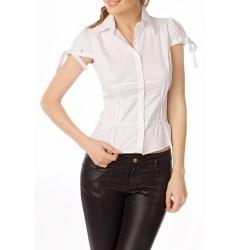 Белая блуза с завязочками на рукавах