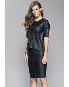Чёрная кожаная юбка Zaps Oris