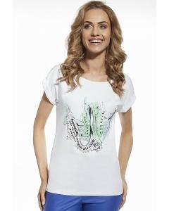 Женская белая футболка из хлопка с принтом Briana 8802