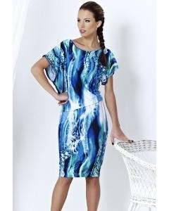 Голубое платье из мокрой вискозы   A3 004
