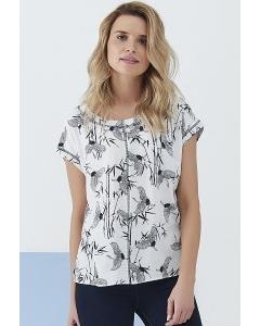 Лёгкая блузка с принтом Журавли Sunwear Q61-2-09