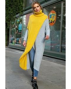 Очень длинный яркий свитер Fobya F553