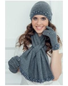 Комплект из кашемира (шапка+шарф+варежки) Landre Лариса