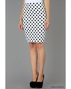 Белая юбка в черный горох Emka Fashion 391-arnis