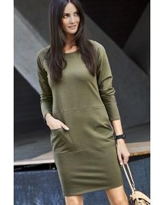 Молодёжное платье цвета хаки Numinou NU135