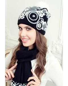 Комплект (шапка + шарф) Landre Бриджит (чёрный/молоко)