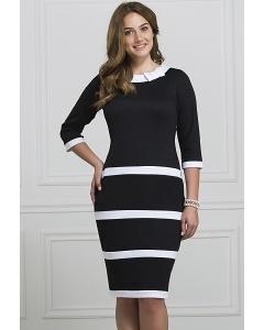 Чёрное платье в белую полоску Rosa Blanca 3033