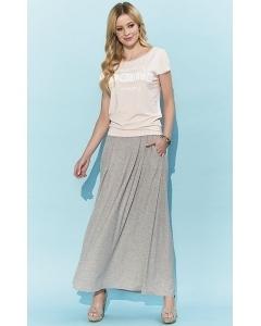 Длинная трикотажная юбка бежевого цвета Zaps Borita