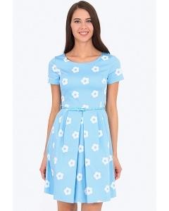 Нарядное платье голубого цвета в белый цветок Emka PL-498/dipti
