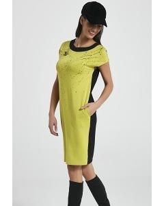 Чёрно-зеленое летнее платье Enny 250034