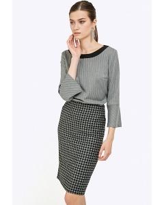 Прямая юбка-миди серого цвета Emka S663/gipsy
