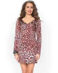 Леопардовое короткое платье Donna Saggia DSP-74-33