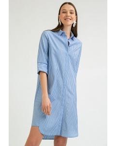 Летнее платье голубого цвета в полоску Emka PL680/ozone