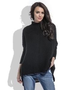 Чёрный женский свитер крупной вязки Fobya F460