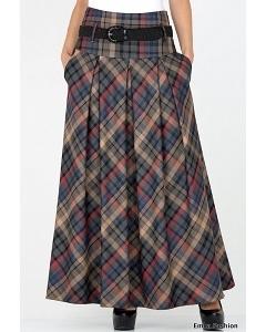 Длинная юбка в клетку Emka Fashion 427-korneliya