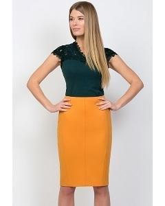 Юбка горчичного цвета Emka Fashion 533-raisa